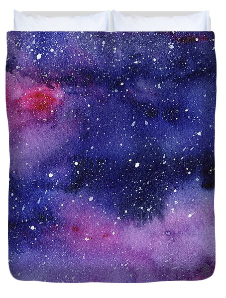 Nebula Watercolor Galaxy Duvet Cover