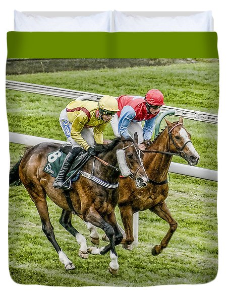 Duvet Cover featuring the photograph Neck And Neck by Brian Tarr