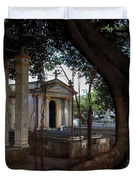 Duvet Cover featuring the photograph Necropolis Cristobal Colon Havana Cuba Cemetery by Charles Harden