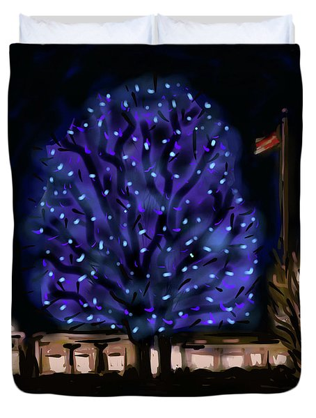 Duvet Cover featuring the painting Needham's Blue Tree by Jean Pacheco Ravinski