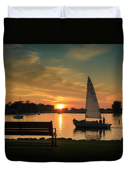 Duvet Cover featuring the photograph Neenah Harbor Sunset by Joel Witmeyer
