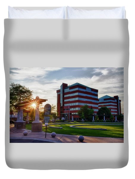 Duvet Cover featuring the photograph Neenah Riverwalk by Joel Witmeyer