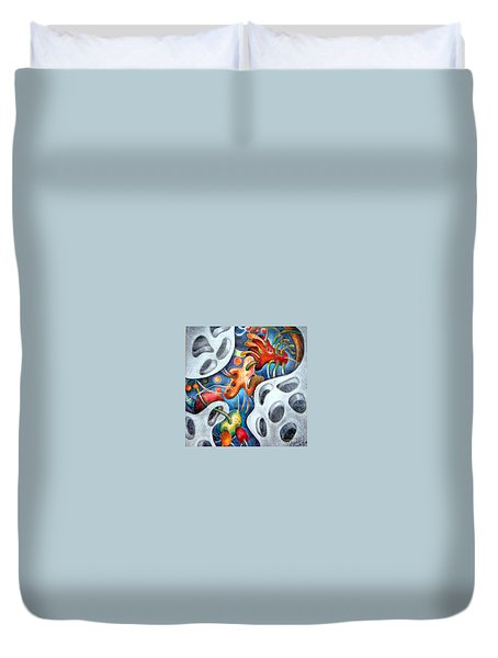 Neighborhood Block Party  Duvet Cover