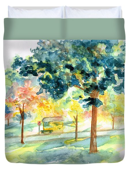 Neighborhood Bus Stop Duvet Cover