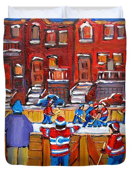 Neighborhood  Hockey Rink Duvet Cover by Carole Spandau