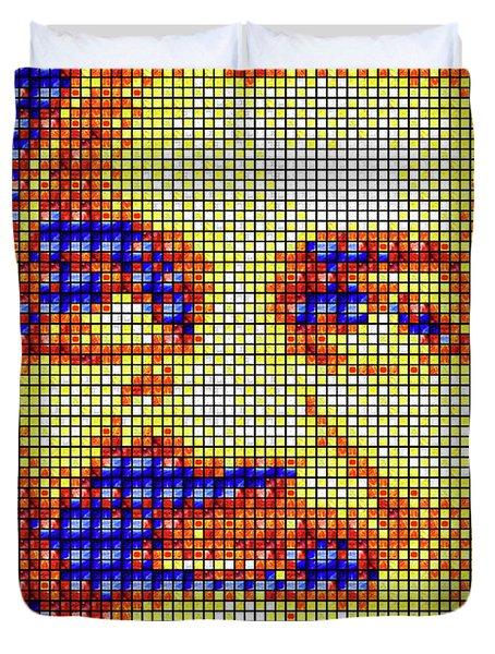 Duvet Cover featuring the digital art Neil Degrasse Tyson Art Mosaic by Shawn Dall