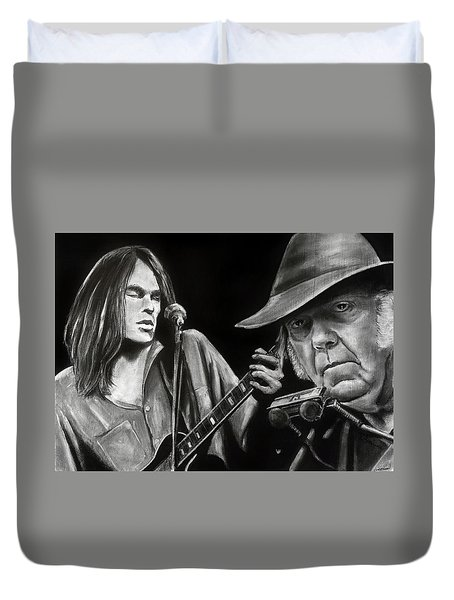 Neil Young And Neil Old Duvet Cover