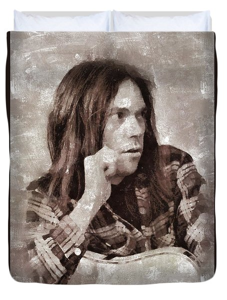 Neil Young By Mary Bassett Duvet Cover
