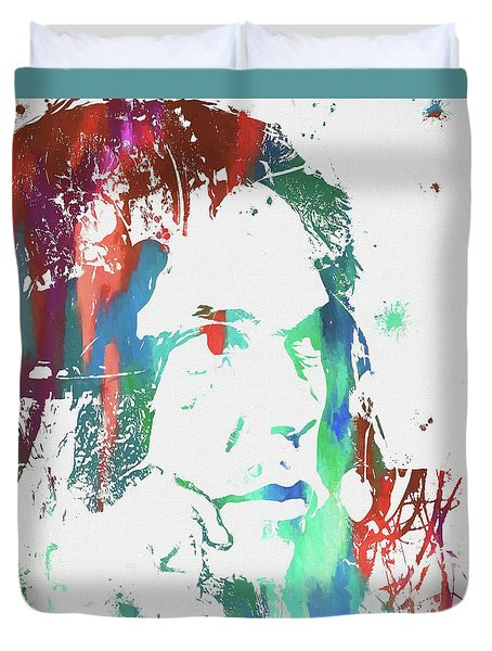 Neil Young Paint Splatter Duvet Cover by Dan Sproul