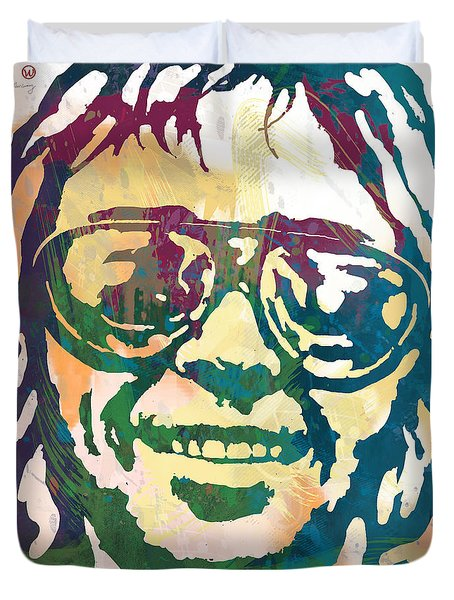 Neil Young Pop Stylised Art Poster Duvet Cover by Kim Wang