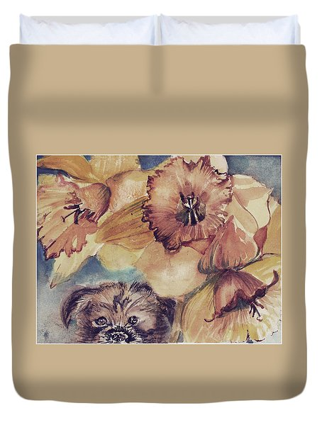 Duvet Cover featuring the painting Nellie Mae by Mindy Newman