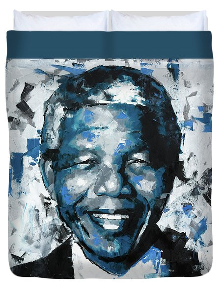 Duvet Cover featuring the painting Nelson Mandela II by Richard Day
