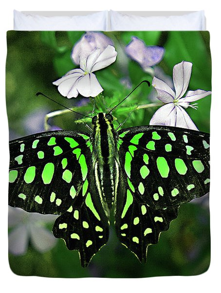 Neon --- Tailed Jay Butterfly Duvet Cover