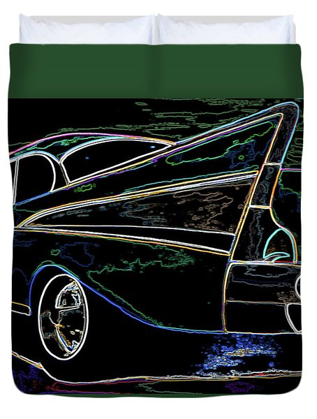 Neon 57 Chevy Bel Air Duvet Cover