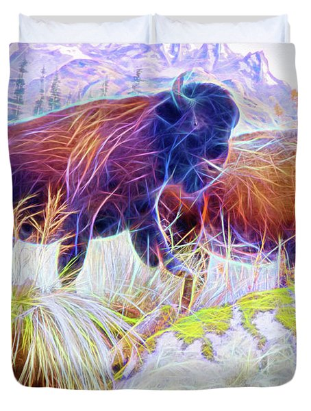 Duvet Cover featuring the digital art Neon Bison Pair by Ray Shiu