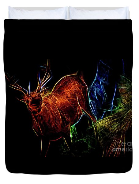 Duvet Cover featuring the digital art Neon Buck by Ray Shiu