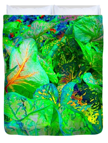 Duvet Cover featuring the photograph Neon Garden Fantasy 1 by Marianne Dow