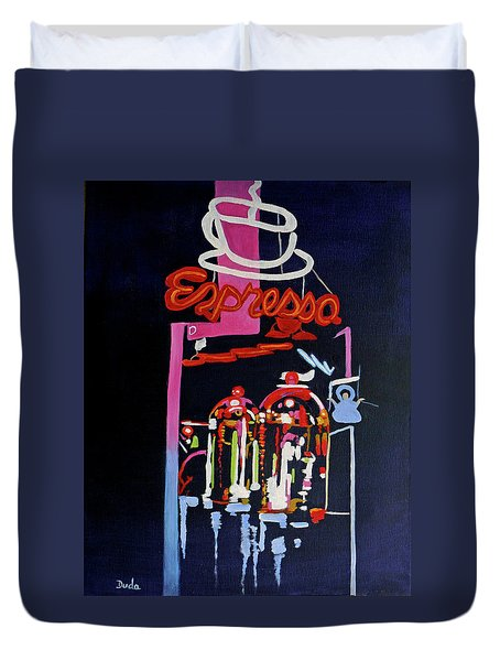 Neon Glow,brass N Copper Expresso Bar Duvet Cover