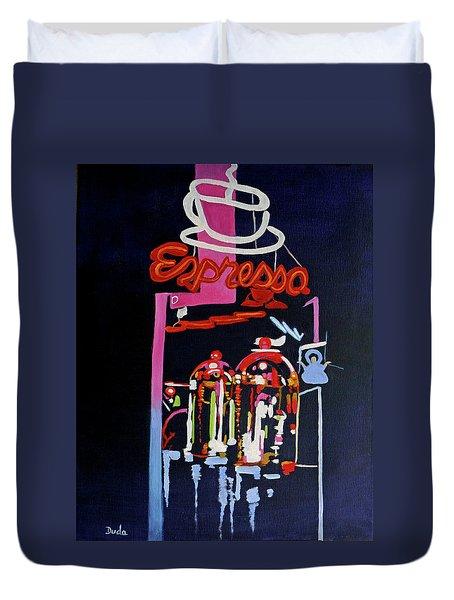 Neon Glow,brass N Copper Expresso Bar Duvet Cover