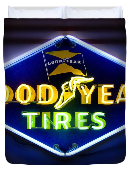 Neon Goodyear Tires Sign Duvet Cover by Mike McGlothlen