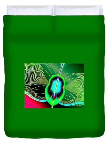 Neon Green And Blue Firefly Fractal 69  Duvet Cover by Rose Santuci-Sofranko