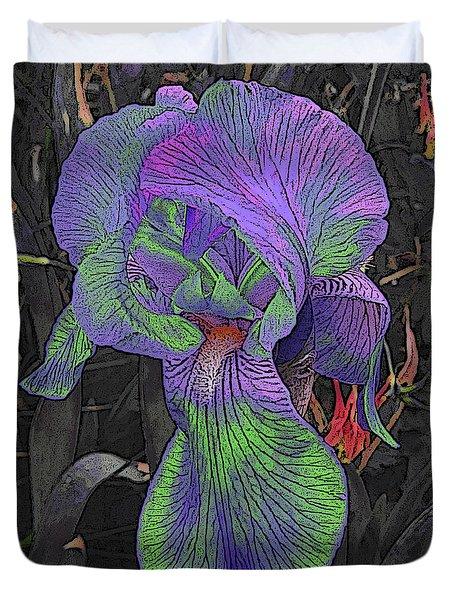 Neon Iris Dark Background Duvet Cover