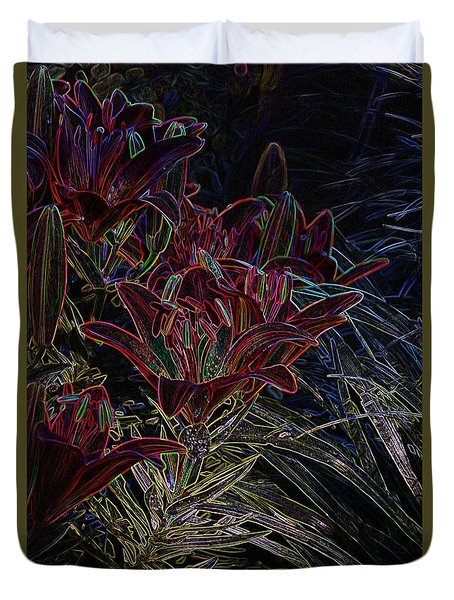 Neon Lily's Duvet Cover by Steven Clipperton