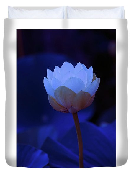 Duvet Cover featuring the photograph Neon Lotus by Carolyn Dalessandro