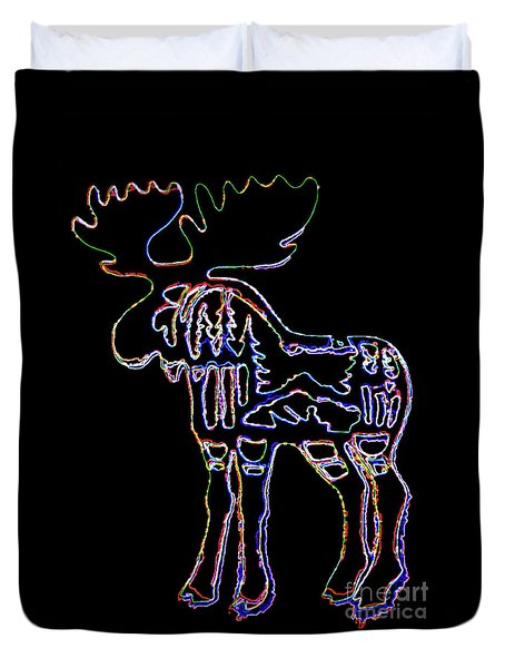 Neon Moose Duvet Cover by Larry Campbell