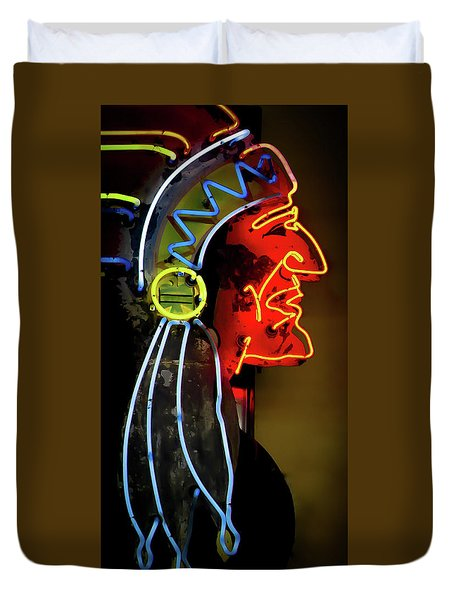 Neon Navajo Duvet Cover by David Patterson