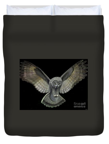 Duvet Cover featuring the digital art Neon Owl by Rand Herron