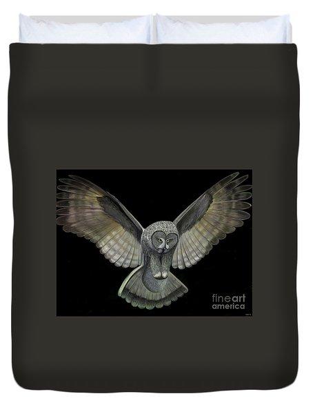 Neon Owl Duvet Cover by Rand Herron