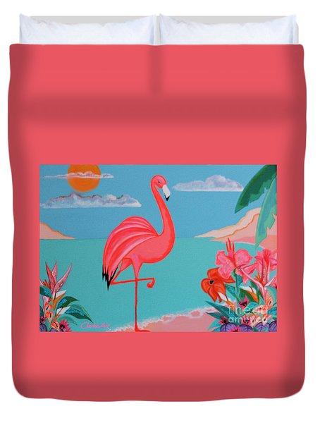 Neon Island Flamingo Duvet Cover
