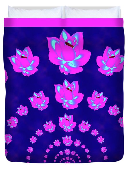 Neon Pink Lotus Arch Duvet Cover by Samantha Thome