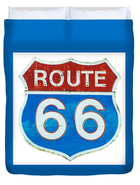 Duvet Cover featuring the photograph Neon Route 66 Sign by MaryJane Armstrong