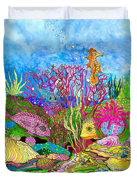 Neon Sea Duvet Cover by Adria Trail