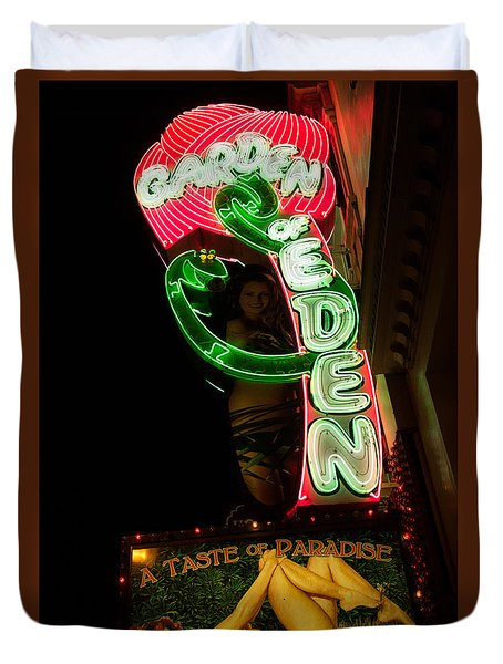 Duvet Cover featuring the photograph Neon Sign At Night In North Beach San Francisco 1 by Jason Rosette