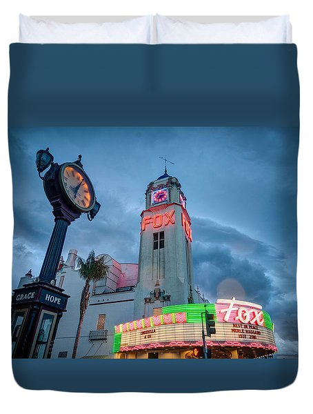Neon Sign Rip Merle Haggard Duvet Cover