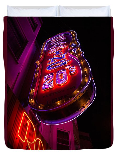 Duvet Cover featuring the photograph Neon Signs At Night In North Beach Low Angle Ve by Jason Rosette