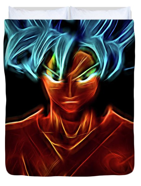 Duvet Cover featuring the digital art Neon Ss God Goku by Ray Shiu