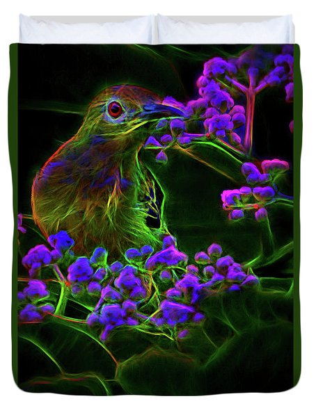 Duvet Cover featuring the digital art Neon Sunbird by Ray Shiu