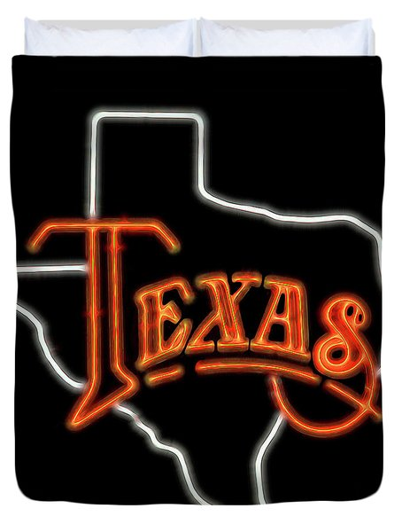 Duvet Cover featuring the digital art Neon Texas by Daniel Hagerman