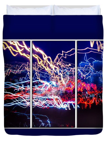 Neon Ufa Triptych Number 1 Duvet Cover by John Williams