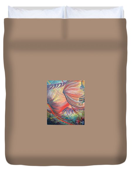 Duvet Cover featuring the painting Neptune's View by Renate Nadi Wesley