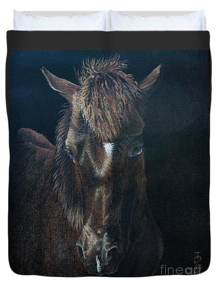 Nervous Colt  Milltown Fair Duvet Cover by Pauline Sharp