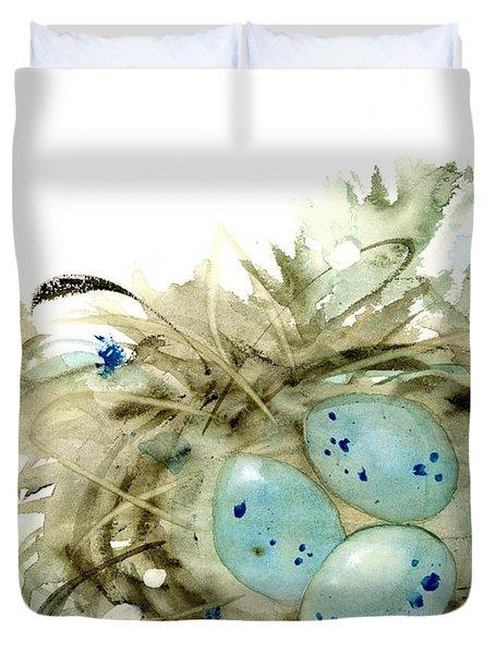Nest And 3 Eggs Duvet Cover