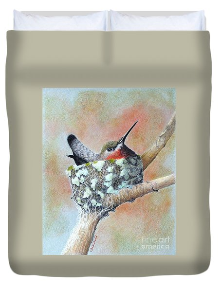 Duvet Cover featuring the drawing Nesting Anna by Phyllis Howard