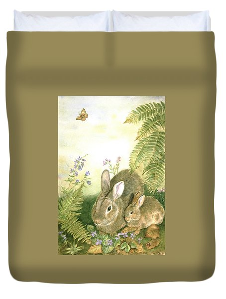 Nesting Bunnies Duvet Cover by Patricia Pushaw