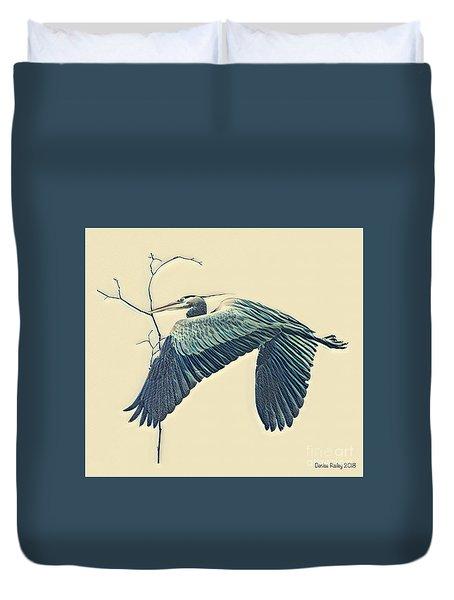 Nesting Heron Duvet Cover