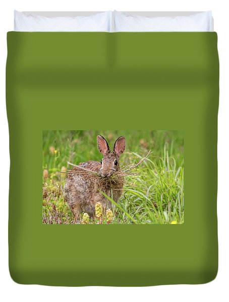 Nesting Rabbit Duvet Cover by Terry DeLuco